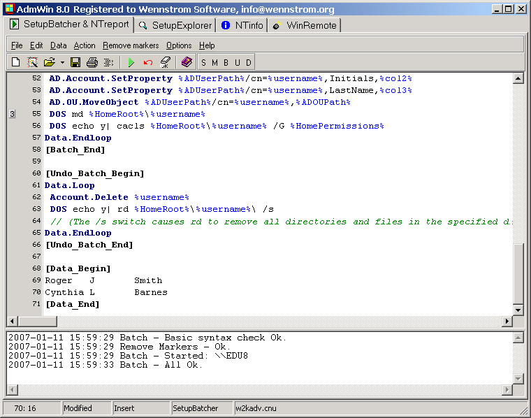 AdmWin is a toolkit for the Windows, Linux and Novell network administrator.
